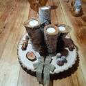 Adventi koszorú és asztaldísz, Otthon & lakás, Karácsony, Dekoráció, Dísz, Ünnepi dekoráció, Famegmunkálás, Egyedi készítésű adventi asztaldísz. Amely tölgyfakorongból (kb 35 cm) és nyírfából készített gyert..., Meska