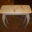 póklábú asztalka, Bútor, Dekoráció, Asztal, Famegmunkálás, Mindenmás, Tömör fenyőfából készült íves lábú kisasztalka. magasság: 90 cm asztallap mérete:70x30 cm natúr; 25..., Meska