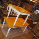 nagyobbítható ebédlőasztal, Bútor, Dekoráció, Asztal, Fenyőfából készült, esztergált lábú, villáskihúzós nagyobbítható asztallapú (+ 30-30 cm), 75 cm maga..., Meska