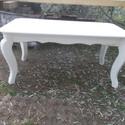 íveslábu ebédlőasztal, Bútor, Dekoráció, Asztal, Fenyőfából készült, cabriol lábas  asztal. 160 x 90 cm alapterületű, 75 cm magasságú, fehérre színez..., Meska