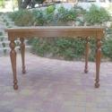 tölgy színű nagyobbítható asztal, Bútor, Dekoráció, Asztal, Fenyőfából készült, esztergált lábú, villáskihúzós nagyobbítható asztallapú, 120x80 cm-es alapterüle..., Meska