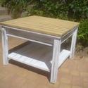 nappali asztal, Bútor, Asztal, Fenyőfából készült, egy fiókos, polcos asztalka. 70x70 cm-es asztallappal, 50 cm magassággal., Meska