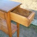 telefonos kisasztalka, Bútor, Dekoráció, Asztal, Tömör fenyőfából készített fiókos, polcos kisasztal. Bontott anyag felhasználásával készült, a régie..., Meska