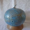 """""""Indiai mese - kék"""" (asztali töklámpa) , Dekoráció, Otthon, lakberendezés, Lámpa, Hangulatlámpa, Festett tárgyak, Mindenmás, A termék alapanyaga lopótök. Elkészítése során a fúrás, festés technikáit alkalmaztam.  Nappali fén..., Meska"""