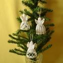 Karácsonyi angyal horgolt, Otthon, lakberendezés, Karácsonyi, adventi apróságok, Ajtódísz, kopogtató, Karácsonyi dekoráció, Az angyalka 100%-os pamut fonalból  készül.  Rendelésre is készítek különböző mintákkal!!..., Meska