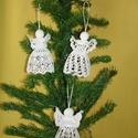 Karácsonyi angyal horgolt fenyő dísz, Otthon, lakberendezés, Karácsonyi, adventi apróságok, Ajtódísz, kopogtató, Karácsonyi dekoráció, Az angyalka 100%-os pamut fonalból  készül.  Rendelésre is készítek különböző mintákkal!!..., Meska