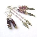 Valami lila, Ékszer, Fülbevaló, Helyes kis fülbevalókat készítettem főként lilából. :) Üveggyöngyök, fém kiegészítők kerültek felhas..., Meska