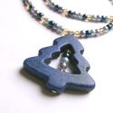 Kék-arany ünnep, Ékszer, Nyaklánc, Pici 4mm-es teklagyöngyökből és szintén 4mm-es csiszolt üveggyöngyökből készítettem ezt a nyakláncot..., Meska