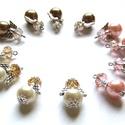 Vegyes pici angyalkák (12 darab) rózsa, óarany, ekrü, Aranyos angyalkák színes ruhában várják már ...