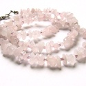 Rózsaszín Tündérfonal, Ékszer, Nyaklánc, Rózsakvarc splitterből készítettem ezt a bájos nyakláncot. Közöttük lilás üveggyöngyök bújnak. Nekem..., Meska