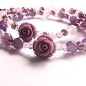 Csupa rózsa - lila, Ékszer, Karkötő, Két bájos, romantikus karkötőt készítettem lila, fehér és rózsaszín gyöngyökből. Ametiszt, Rózsakvar..., Meska
