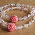 Csupa rózsa - rózsaszín, Ékszer, Karkötő, Két bájos, romantikus karkötőt készítettem rózsaszín, fehér és arany színű gyöngyökből. Rózsakvarc é..., Meska