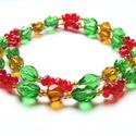 Karácsonyi bogyók, Ékszer, Nyaklánc, A Karácsony színeit felhasználva készült ez a nyaklánc. Üveggyöngyöket, Farfalle gyöngyöket, pici ká..., Meska