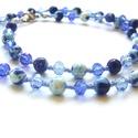 Kékre festve, Ékszer, Karkötő, Csupa kék színű gyöngyöket válogattam össze ehhez a nyaklánchoz. 6mm-es szintetikus Jade gyöngyöket,..., Meska