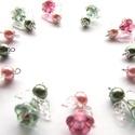 Rózsa-zöld virágangyal (12 darab), Dekoráció, Karácsonyi, adventi apróságok, Ünnepi dekoráció, Karácsonyfadísz, Arany színnel fújt üvegvirág a szoknyájuk ezeknek a helyes kis angyalkáknak. Igazán bájosak, már kés..., Meska