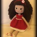 Mira horgolt baba, Játék, Baba-mama-gyerek, Baba, babaház, Plüssállat, rongyjáték, Micsoda haj! Micsoda piros ruha! Micsoda baba!  Ő itt Mira! Amigurumi technikával készült, ruhá..., Meska