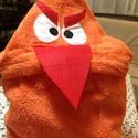 Angry Bird narancssárga kapucnis törülköző kamaszoknak, felnőtteknek, Mindenmás, Baba-mama-gyerek, Férfiaknak, Furcsaságok, Varrás, Pihe-puha narancssárga frottír törülközőből készült kapucnis törülköző uszodába, minden napos haszn..., Meska