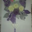 Ajtódísz, Dekoráció, Otthon, lakberendezés, Dísz, Ajtódísz, kopogtató, Varrás, Filc anyagból készült ajtódísz. Melyet szintén kézzel készített virágok és pillangó díszít. A virág..., Meska