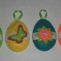 Húsvéti tojások, Dekoráció, Otthon, lakberendezés, Dísz, Asztaldísz, Filc anyagból készült húsvéti tojások. Pelenka öltéssel varrtam őket. Enyhén tömött, él..., Meska