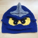 Lego Ninjago sapka, Ruha, divat, cipő, Gyerekruha, Kendő, sál, sapka, kesztyű, Sapka, Horgolás, Saját tervezésű egyedi Lego Ninjago sapka.  Tavaszra bélés,kötő illetve fülvédő nélkül is készülhet..., Meska
