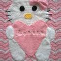 Hello Kitty babatakaró, Otthon, lakberendezés, Lakástextil, Takaró, ágytakaró, Horgolás, Nagyon puha chevron mintával készült Hello Kitty-s horgolt babatakaró. Nagyon jó minőségű baba fona..., Meska