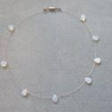 Opalit köves cseppek, Ékszer, Nyaklánc, Opalit ( mesterséges holdkő) cseppecskék ami ezüst színű cápa zsinóron(sodronyon)szaladgálnak:)  Mag..., Meska