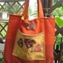 Szívemnek virága... narancssárga szatyor / táska, Táska, Varrás,   Nagyon megtetszett nekem ez a rozsda-narancs színű nagykockás bútorszövet, olyan a színe, mint a ..., Meska