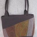 Szövet táska különleges tűzéssel, Táska, Ezt a közepes méretű táskát válogatott, egymással harmonizáló szövetekből állítottam elő, az ősz szí..., Meska