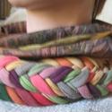 Sálnyaklánc /nyakmelegítő / ékszersál, Ruha, divat, cipő, Kendő, sál, sapka, kesztyű, Sál,  Kedvenc őszi darabod lehet ez a kasmírszerű textilből és  fonott pólófonalból kombinált nyakbavaló...., Meska