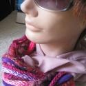Pink csoda/ sálnyaklánc / ékszersál, Ruha, divat, cipő, Ékszer, Kendő, sál, sapka, kesztyű, Sál,  Fáradtrózsaszín gézszerű vékony textil részből és a pink-lila árnyalataiból válogatott, kötött rész..., Meska
