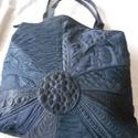 Fekete cérnarajzos táska /elegáns fekete kézitáska, Ruha, divat, cipő, Táska, Válltáska, oldaltáska,  Fekete selymekből,, szaténból, szép anyagokból varrtam ezt a táskát. Különlegessé a sűrű, rajzos tű..., Meska
