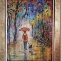 séta, Képzőművészet, Festmény, Akril, Festészet, A festmény 20x30 cm-es, farost, akril technikával, a fotón látható kerettel együtt. Afremov ihletés..., Meska