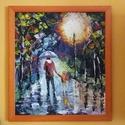 séta az esőben, Képzőművészet, Festmény, Akril, Festészet, A festmény 35x40 cm-es, farost, akril technikával készült, a fotón látható kerettel együtt.  Afremo..., Meska