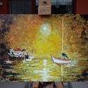 hajó, Képzőművészet, Festmény, Akril, Festészet, A festmény 30x20 cm-es, farost, akril technikával. Afremov ihletése alapján., Meska