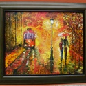 sétáló pár, Képzőművészet, Festmény, Akril, Festészet, A festmény 50x40 cm-es, farost, akril technikával, a fotón látható kerettel együtt. Afremov ihletés..., Meska
