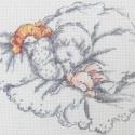 Szép álmokat , Baba-mama-gyerek, Dekoráció, Otthon, lakberendezés, Gyerekszoba, Újszülött baba és a kedvenc állatai. Keresztszemes hímzéssel készült kép, mérete kb. 17×..., Meska