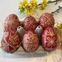 6 db piros hímes tojás, Hagyományos hímes tojás világos tyúktojásra ...