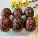 6 db fekete-piros hímes tojás, Hagyományos hímes tojás különleges két szín...