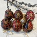 6 db piros-fekete hímes tojás, Otthon & Lakás, Dekoráció, Mindenmás, Hagyományos hímes tojás piros-fekete  díszítménnyel.  A tojások 6 db klasszikus tyúktojás méretének..., Meska