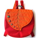 GrettaBag hátizsák, Táska, Hátizsák, Varrás, Leveles, nagyméretű hátizsák sok zsebbel és pöttyökkel.  Az alapanyaga narancssárga gyöngyvászon, v..., Meska