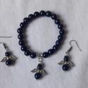Lapis lazuli ásványkő karkötő és fülbevaló angyalkával., 8 milliméteres lapis lazuli ásványkarkötő és...