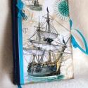 Hajós  napló, Naptár, képeslap, album, Jegyzetfüzet, napló, Papírművészet, Napló a hajók szerelmeseinek.  A könyvjelző anyaga, szatén szalag. Az utolsó kép csak kedvcsináló, ..., Meska