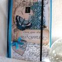 Türkiz pillangó, Naptár, képeslap, album, Baba-mama-gyerek, Jegyzetfüzet, napló, Gyerekszoba, Decoupage, transzfer és szalvétatechnika, Napló méret:14,7 x 20,5 x 1 cm, (A/5-ös méret) Kb. 100 vonalas lap. Ez az egyedi tervezésű napló cs..., Meska