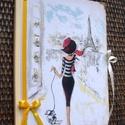 Párizsi nő - napló, Naptár, képeslap, album, Jegyzetfüzet, napló, Decoupage, transzfer és szalvétatechnika, A könyv készítésekor elsősorban papírt és kevés textillel.  Méret:19,2 x 14,5 x 1 cm, (A/5-ös méret..., Meska