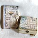 Vintage receptes könyv és teatartó szett , Esküvő, Férfiaknak, Otthon, lakberendezés, Papírművészet, Bőrművesség, A napló kb. 90-98 sima lap, és külön is megvásárolható. A doboz belül 4 részre osztott, mely ki is ..., Meska