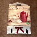 Kávé!!!!!! Tárló 2 akasztóval, Konyhafelszerelés, Otthon, lakberendezés, Receptfüzet, Tárolóeszköz, Decoupage, transzfer és szalvétatechnika, Vidám- kicsit mediterrán színvilágú és hangulatú tároló konyhába, ebédlőbe.  Ezzel a mintával képet..., Meska