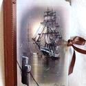 Hajós napló - A fregatt, Naptár, képeslap, album, Jegyzetfüzet, napló, Papírművészet, Napló a hajók szerelmeseinek.  Méret: 14,7 x 20,5 x 1 cm, (A/5-ös méret, kb. 90-95 üres lapokkal, d..., Meska