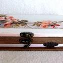 Tolltartó - Barackvirág rózsával, Otthon, lakberendezés, Ékszer, Tárolóeszköz, Doboz, Decoupage, transzfer és szalvétatechnika,  Mérete: 21,0 x 8,0 x 5,0 cm Tökéletes ajándék pedagógusoknak és a szép tollak- ékszerek kedvelőine..., Meska