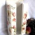 Papír zsebkendőtartó - Rózsás Vintage, Otthon, lakberendezés, Tárolóeszköz, Nagy méretű papír zsebkendőtartót készítettem, romantikus virág díszítéssel, mely 100-150..., Meska