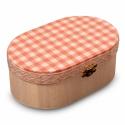 Rózsaszín kockás ékszeres dobozka, Ezt a fából készült ékszeres dobozkát fehér...